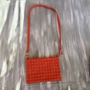 Orange Rhinestone Crossbody Purse